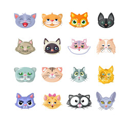 Set of stickers, icons, characters, funny cats, head, cute face.