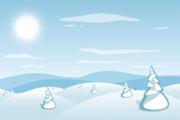 Winter landscape background. Blue mountains snowy hills and pines on foreground. Frosty sunny day. Christmas and New Year wallpaper. Vector illustration