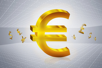 golden euro currency symbols forex trading concept