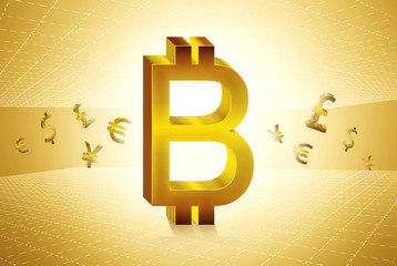 golden bit coin currency symbols forex trading concept