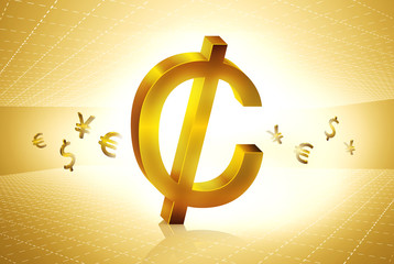 golden cent currency symbols forex trading concept