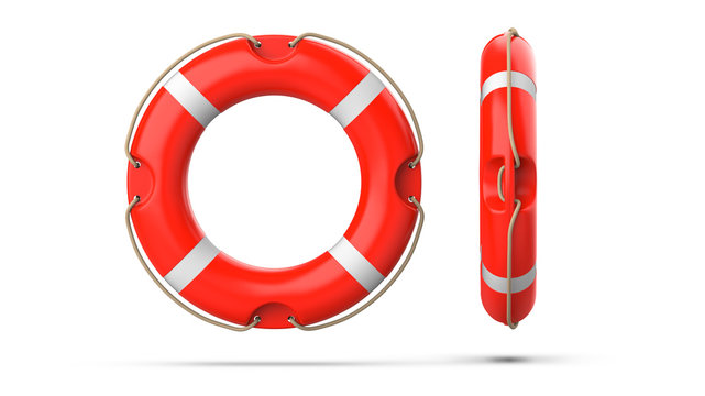 Top view of lifebuoy, isolated on a white background with shadow. 3d rendering of orange life ring buoy