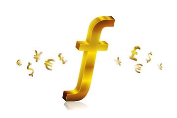 golden guilder currency symbols forex trading concept