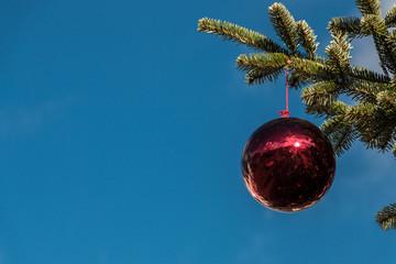 A Christmas tree and shining Christmas tree balls