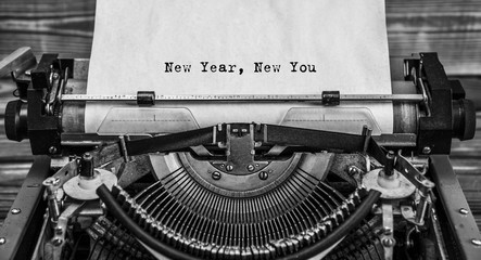 New Year New You message typed on a vintage typewriter