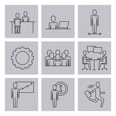 business people teamwork icon set in thin line style vector illustration