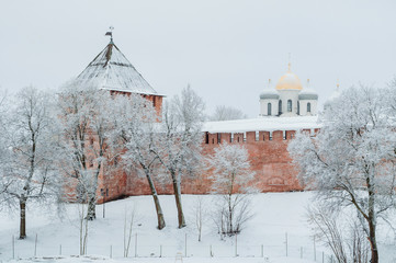 Veliky Novgorod, Russia.Vladimir tower and St Sophia cathedral in Veliky Novgorod Kremlin, architecture winter landscape