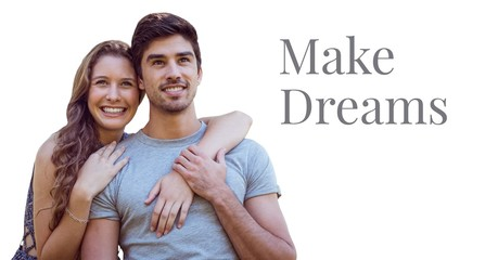 Make dreams text and happy couple