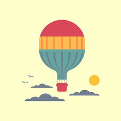 Hot air balloon in the sky with clouds. Stylized outdoor icon. Flat cartoon pop art style. Travel adventure fly concept banner template design. Simple minimal poster retro colors. Vector illustration