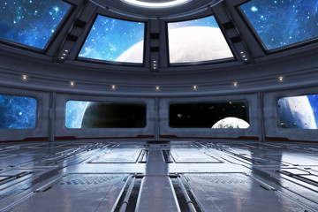 Modern futuristic spaceship interior background. 3d rendering