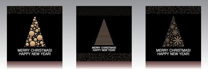 Greeting christmas card tree gold