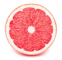Perfectly retouched sliced half of grapefruit isolated on the white background with clipping path