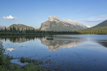 Scenery of Mount Rundle reflecting in Vermilion Lakes in Banff National Park, Alberta, Canada
