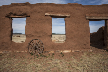 Adobe remains with wall and windows, Fort Union, New Mexico, USA