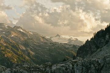 Mountain range at sunset, Garibaldi Provincial Park