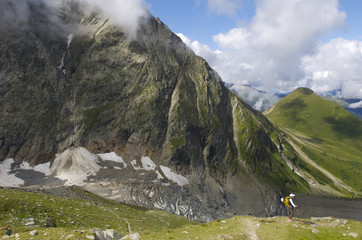 a climber descends into the valley after climbing Mont Blanc in Chamonix, France