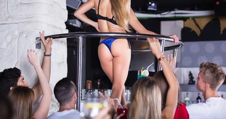 Woman dancer gogo dancing in the night club