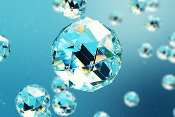 3D illustration abstract background of chaotic low poly spheres consisting of gem or diamond. Particle in dusty space. Futuristic background with depth of field effect, bokeh.