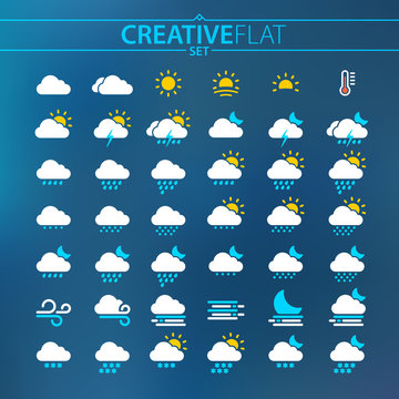 Flat Light Weather Icons For Mobile And Web Design
