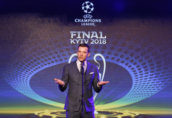 Ukraine's national soccer team coach Andriy Shevchenko speaks during the unveiling ceremony of the logo of the 2018 Champions League final soccer match in Kiev