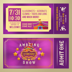 Ticket for admission to an amazing circus performance, show, invitation card, front and back, vector cartoon illustration. Purple Vintage Flyer