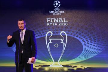 Kiev Mayor Vitali Klitschko speaks during the unveiling ceremony of the logo of the 2018 Champions League final soccer match in Kiev