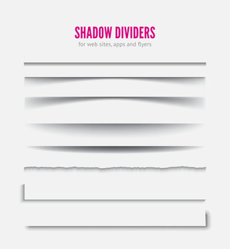 Page divider. Transparent realistic paper shadow effect