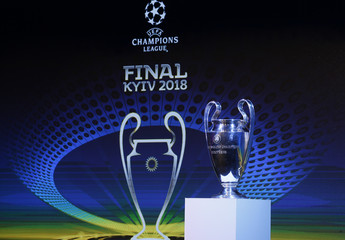 The UEFA Champions League trophy is pictured during the unveiling ceremony of the logo of the 2018 Champions League final soccer match in Kiev