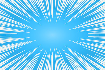 Cyan and white radial lines comics style backround. Manga action, speed abstract. Vector illustration