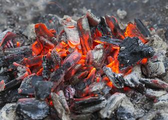 burning coals after grilling