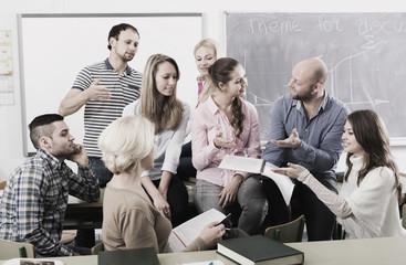 Informal discussion between teacher and students
