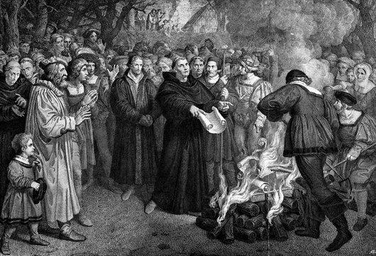 Luther burning the papal bull, 10 December 1520; Karl Ludwig Bernard Christian Buckhorn, after Franz Ludwig Catel (from Spamers Illustrierte Weltgeschichte, 1894, 5[1], 216/217)