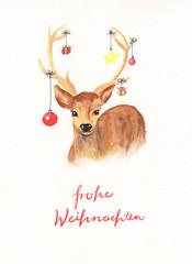 Aquarell Weihnachtskarte mit Hirsch, der mit Weihnachtskugeln geschmückt ist