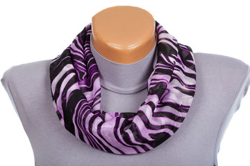 Lilac scarf on mannequin isolated on white background.