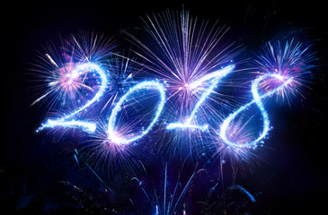 Happy New Years 2018 With Blue Fireworks