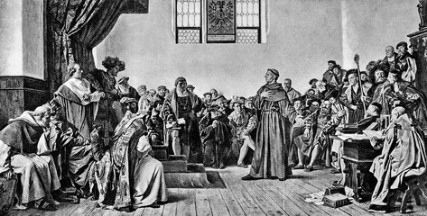 Luther at the Diet of Worms (1521), by Anton von Werner (from Spamers Illustrierte Weltgeschichte, 1894, 5[1], 224/225)