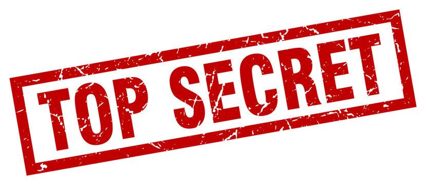square grunge red top secret stamp