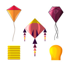 Kite set in cartoon style