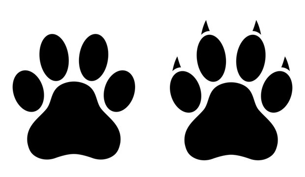 Dog paw print set. Paw icon. Vector illustration.