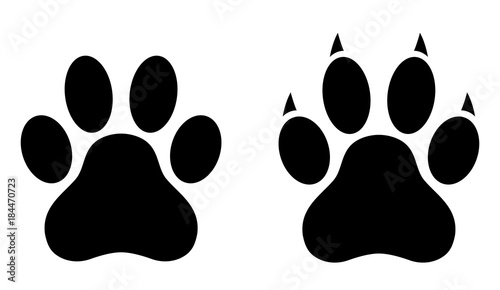 Dog paw print set  Paw icon  Vector illustration