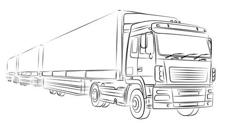 Набросок длинного грузовика.