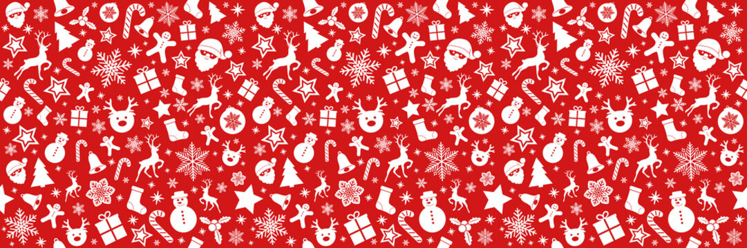 Seamless Holidays pattern with ornaments. Vector.
