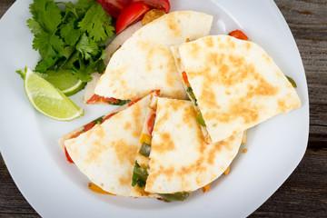 Chicken quesadilla dish