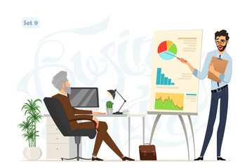 Business meeting. Boss and worker. Worker explains some project results on the board. office style. Business characters with expressions