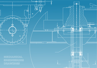 Blueprints. Engineering backgrounds. Mechanical engineering drawings. Cover. Banner. Technical Design. White and blue