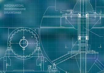 Blueprints. Mechanical construction. Engineering illustrations. Technical Design. Banner. Blue. Grid