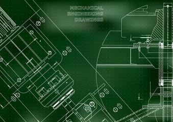 Blueprints. Mechanical construction. Technical Design. Cover. Banner. Green. Points