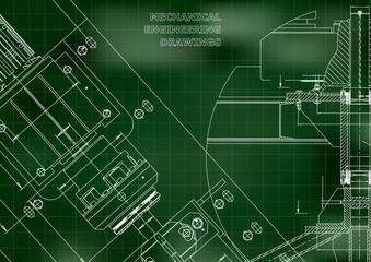 Blueprints. Mechanical construction. Technical Design. Cover. Banner. Green. Grid
