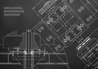 Blueprints. Mechanical construction. Technical Design. Engineering Cover. Banner. Black
