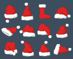 Set of Red hats of Santa Claus.